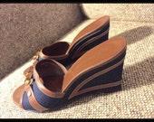 """Etienne Aigner 7.5M * like new Vintage Wedges•  Women 3"""" heel"""