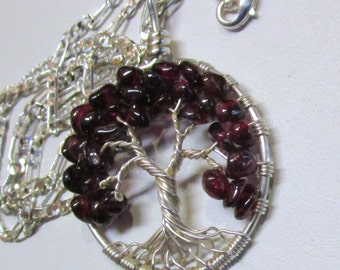 Garnet & Fine Silver Wire Wrapped Tree of Life, January Birthstone Tree of Life