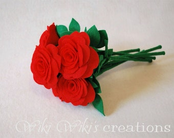 Felt Stem Roses- Pick Your Color