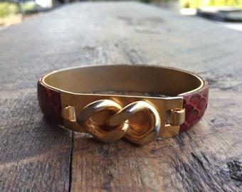 Vintage Snakeskin cuff bangle gold tone Bracelet 1980's