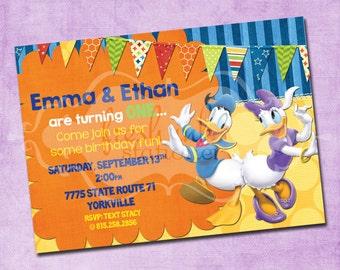 Donald and Daisy Duck Birthday Invitation