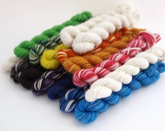 Set of 16 Minis, Sock Kit, 80/20 Superwash Merino/Nylon, Rainbow