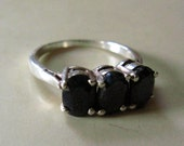 Reserved for Wendy. Triple Sapphire Sterlling Silver Ring Size 6