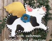 Screen Wire Door Hanger, Mackenzie Childs inspired Black and White Spotted Flying Pig with Gold Wing and Turquoise Flower Door Hanger Wreath
