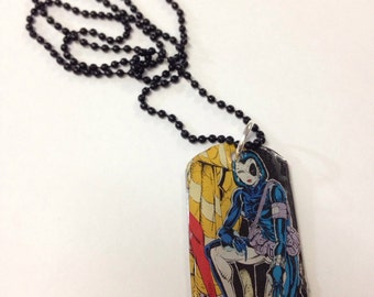 Upcycled Domino Comic Book Dog Tag Necklace