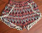 Boho Coachella Shorts, Tribal Printed Wrap Shorts, Pom Pom Trim Shorts, Womens Floral Shorts, Beach Fashion, Boho Chic Shorts
