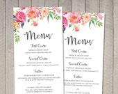 Spring Floral Wedding Menu (Printable) DIY by Vintage Sweet