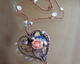 Heart necklace.Wire work with polymer clay rose and pearl beads