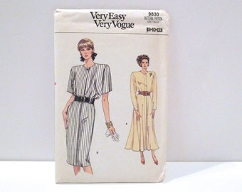 Blouson Bodice Dress Vintage Vogue 9830 Never Used 1980s Very Easy Sewing Pattern FF uncut Flared Skirt Dress Shoulder Pads Midi 8 10 12