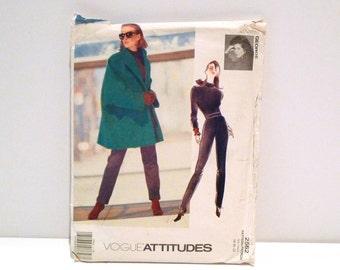 Jennifer George Jacket Top Pants Vogue 2562 Vintage 1990s Designer Sewing Pattern Never Used Plus Size 18 20 22 Swing Coat Car Coat T shirt