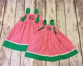 Sophia Dress- watermelon dress, watermelon party, watermelon birthday, pink and green girl dress, watermelon outfit