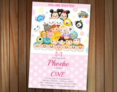 Tsum Tsum Minnie Mouse, Mickey Mouse Birthday invitation, Baby Shower, Printable, Custom
