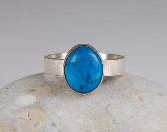 Turquoise Ring Artisan Ring Handmade Silver Ring Wide Band Ring Southwestern Jewelry Turquoise Jewelry