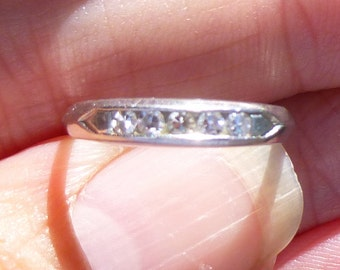 Art Deco Vintage Deco .10Ct Diamonds Platinum Engagement Ring Wedding Band Stacker band or Pinky ring