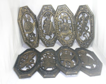 Vintage Set of Four 1968 Syroco Wall Plaques --Four Homco 1974 Armor Helmet Shield Swords Arrows--Gold & Black Plastic