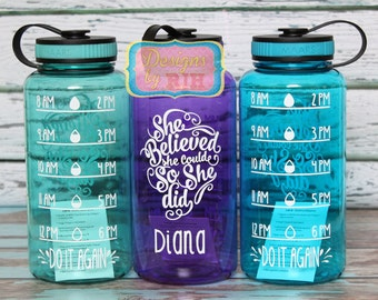 Inspirational Personalized 34oz Tritan Sports Water Bottle with Hourly Reminder Times - She Believed She Could