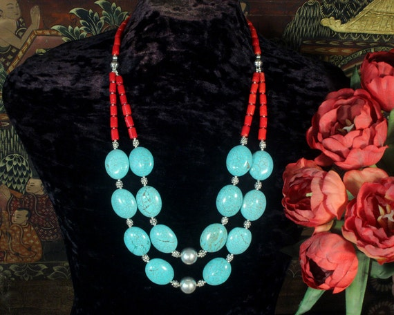 Turquoise Statement Necklace, Southwestern Jewelry, Multi Strand, Turquoise and Coral Necklace, Ethnic Jewelry, Turquoise Jewelry