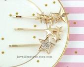 Gold Star and Rhienstone Gold Star Bobby Pin, Star Bobby Pin, Set of 3 Gold Bobby Pin, Bridal Shower Gift, Bridesmaid Gift, Star Hair Pin