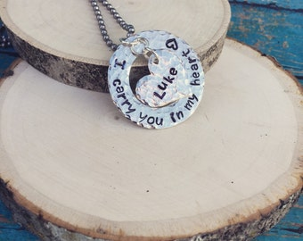 Hand Stamped Rememberance Necklace with personalized heart name pendant.