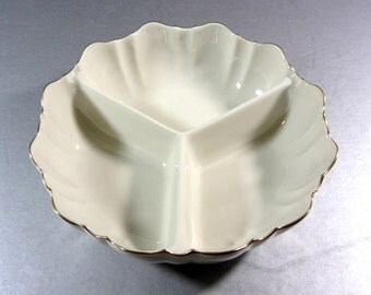 Lenox Symphony Gold Divided Dish Bowl as New