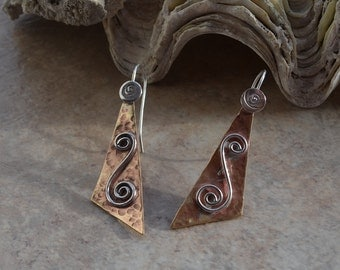 Contemporary Handmade Mixed Metal Geometric Triangle Earrings with Brass and Sterling Silver