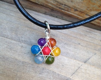 Chakras wire wrapped Pendant on  Leather 7 Chakras pendant Gemstone Necklace Minimalist