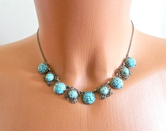 Vintage Turquoise Filigree Necklace, Silver Tone