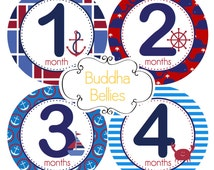 Baby Boy Nautical Monthly Sticker Sailboat Anchor Month Stickers Tshirt Bodysuit Stickers Month Photo Sticker Snapsuit Sticker