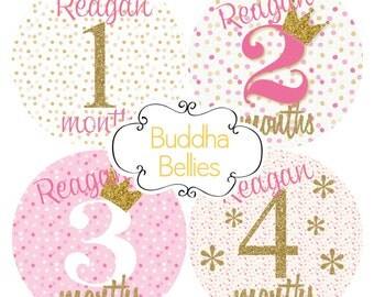 Personalized Baby Girl Monthly Stickers Pink and Gold Glitter Confetti  Month Baby Stickers Month to Month Stickers Monthly Baby Decals