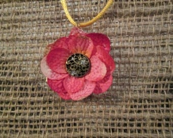 Small 1 1/4 inch silk flower necklace - Pink with antiqued center.