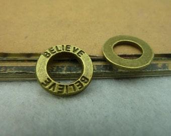 30pcs 14mm antique bronze believe letter charms pendant C3832