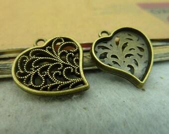 20pcs 19*20mm antique bronze love heart charms pendant C3681