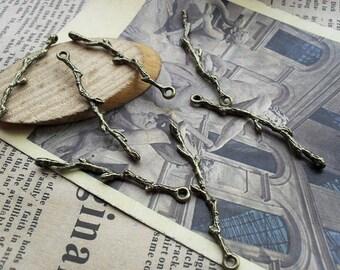 20pcs 41x6mm antique bronze branch  leaf  charms pendant  C370
