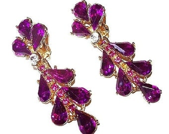 "Rhinestone Dangle Earrings Fuchsia Pink Color Hollywood Glamour Gold Metal Long 2.5"" Vintage"