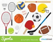 BUY 2 GET 1 FREE sports clipart / sports gear clip art / sports equipment ball racket bat vector illustration / commercial use ok