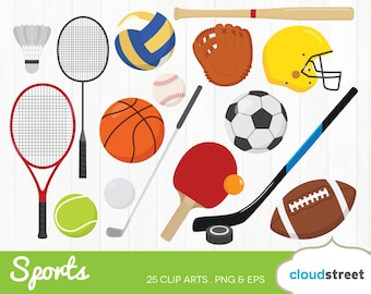 20% OFF sports clipart / sports gear clip art / sports equipment ball racket bat vector illustration / commercial use ok