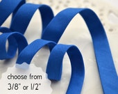 """blue, organic cotton - double fold, bias tape - 3 yards, CHOOSE 3/8"""" or 1/2"""" wide"""