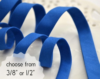 "blue, organic cotton - double fold, bias tape - 3 yards, CHOOSE 3/8"" or 1/2"" wide"