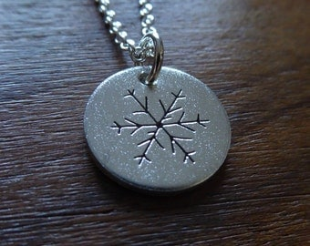Silver Snowflake Necklace Pendant with Satin Finish