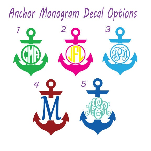 Monogram Anchor Decal  Yeti Cup Decal  Vinyl Decal Yeti Cup - Anchor custom vinyl decals for car