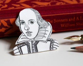 Shakespeare Brooch William Shakespeare Cute Brooch Geeky Pin Book Pin