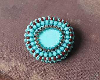 Turquoise Brown Brooch Beadwork Brooch Bead Emboidery Brooch Chunky Brooch Embroidered jewelry Ethnic Tribal jewelry Gift idea for her