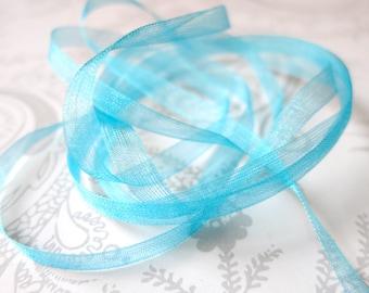 Turquoise Organdy Ribbon 1/8 -- Organza -- 3 yards -- Aqua -- 3mm