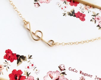 Treble Clef Necklace, Sideways Treble Clef Necklace, All 14K Gold filled, Handmade By Me, Everyday Jewelry, Wire Jewelry