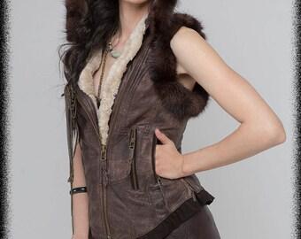 Leather steampunk vest leather burning man biker vest Distressed leather tribal jacket recycled mink  fur waistcoat  SELKIE