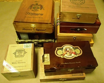 Wedding centerpiece 10 pc Wooden Cigar box lot - macanudo, romeo & juliet, cohiba, fuente, brickhouse, ashton