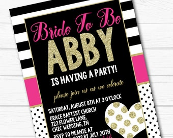 "Diy Personalized ""Chic Kate"" Pink, Gold and Black Birthday & Bridal Party Digital Printable 4x6"" or 5x7"" Invitation"