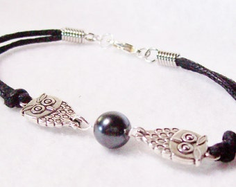 Bracelet/Owl/black cord/hematite 8mm bead/sterling clasp/8 inches/Free USA shipping only