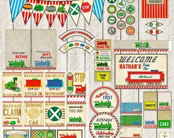 Train Birthday Party Decor Transportation | Train Car Printable Decorations | Vintage | kit | Pack | Large Set | Package