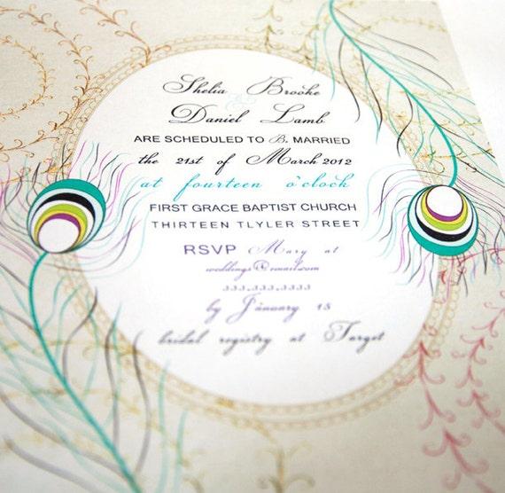 Peacock Wedding Invitation Card Vintage - digital invitations - print printable cards invite